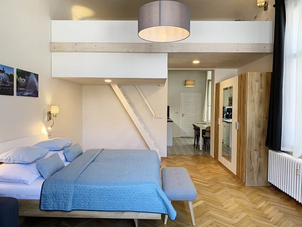 Marienbad Apartment Mariánské Lázně obývací pokoj patrová postel