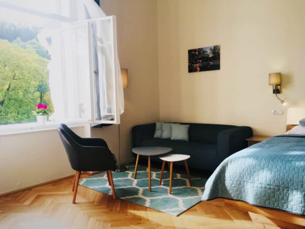 Marienbad Apartment Mariánské Lázne Park view sofa and window