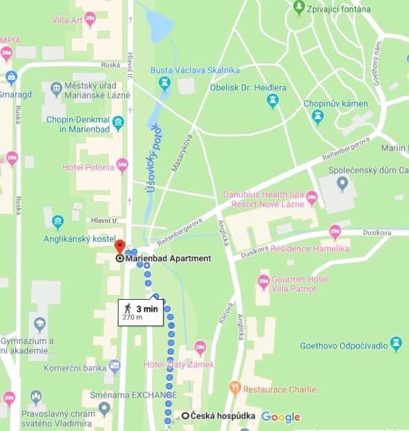 Cesta z Marienbad Apartment do restaurace Česká hospůdka